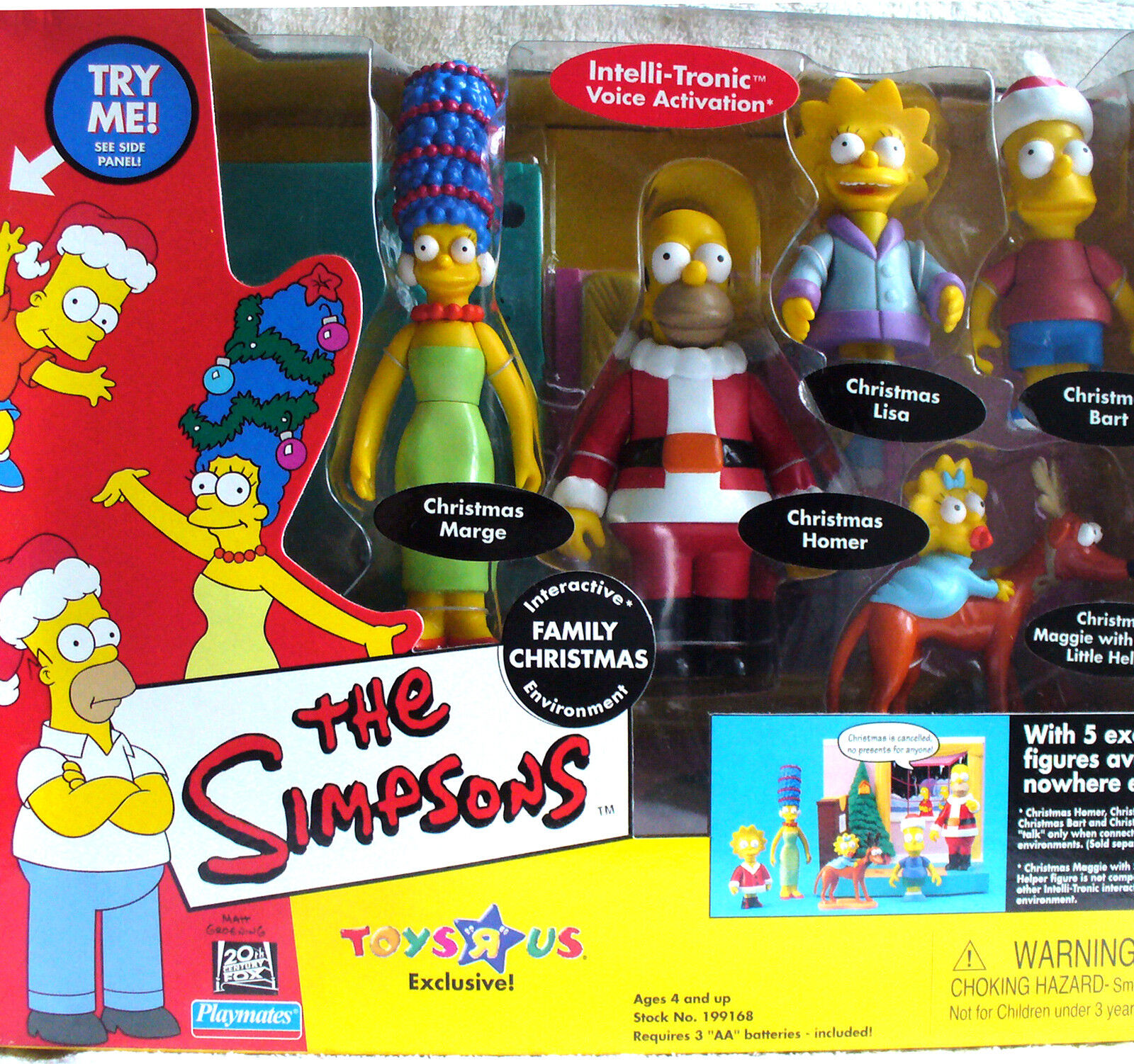 The Simpsons TRU exclusive Family Christmas Marge,Homer,Bart,Lisa,Maggie NEW