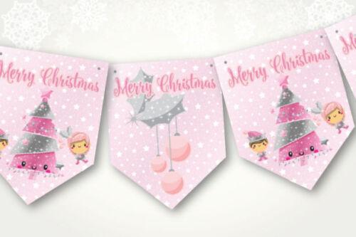 Kawaii Pink Cute Christmas Bunting//Banner /& Ribbon