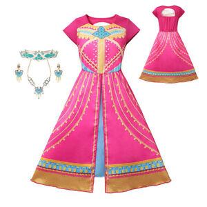 Girls Jasmine Princess Dress Up Backless Printed Aladdin/'s Lamp Carnival Clothes