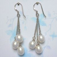 6-7mm Genuine Natural White Freshwater Pearl 925S Silver Dangle Earrings