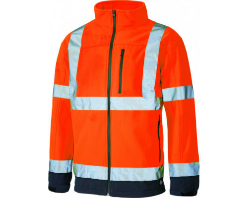 4XL Dickies Hi-Vis Hi Viz Two 2 Tone Soft Shell Orange//Navy Jacket SA2007 M