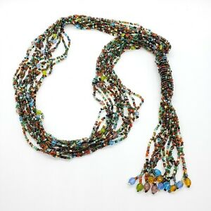 Vtg-Multi-Strand-Colored-Glass-Seed-Bead-Necklace-Tassle-Pendant-24-034-Boho