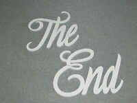 The End Movie Wall Words Laser Cut Wood White Hanging Sign Art Decor