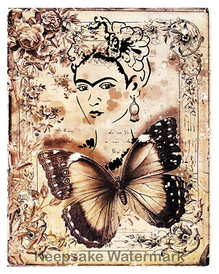 K8 Frida Kahlo Flowers Collage Art Fabric Quilt Block Free Shipping World Wide