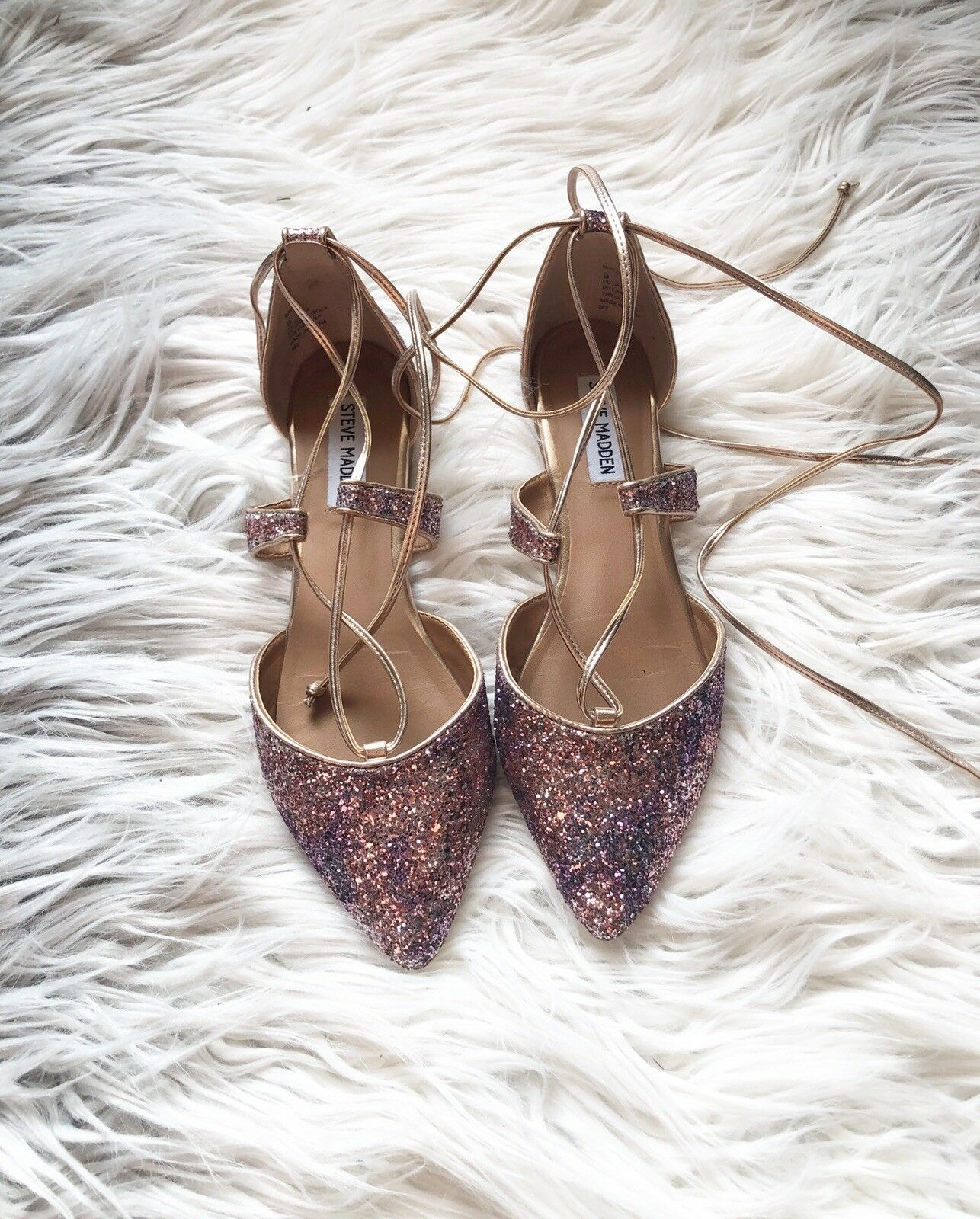 Steve Madden Madden Madden Women's Britzi Pointed Lace-Up Glitter shoes Flats Size 9 a10534