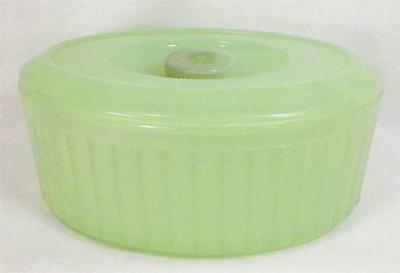 Green Clambroth Refrigerator Dish Anchor Hocking Oval Vintage Large 7 in AS IS