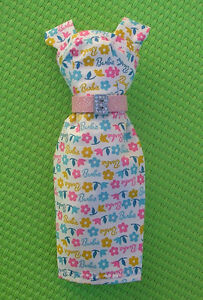 Barbie-Sheath-Dress-made-From-Vintage-Barbie-Print-Fabric-w-Pink-Belt