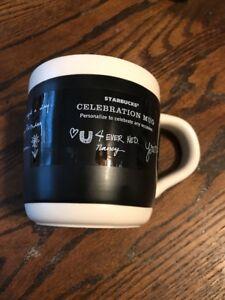 Starbucks Celebration Mug Chalkboard w// Pen 18 oz Ceramic Coffee Cup 2009 Black