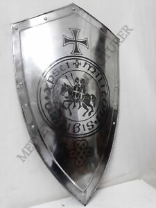 Medieval-KNIGHT-Shield-All-Metal-36-Handcrafted-Battle-Armor-Medieval Shield O1