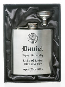 Personalised BIRTHDAY Jager Design Hip Flask in Gift Box For 18th/21st/Boys<wbr/>/Men