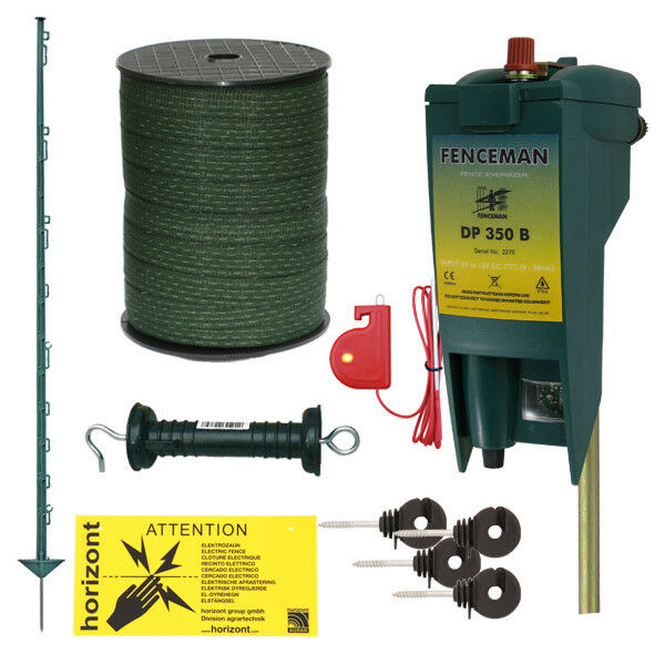 DP350B 6v   12v Electric Fencing Kit for Horses with 4FT Green Posts & 20mm Tape