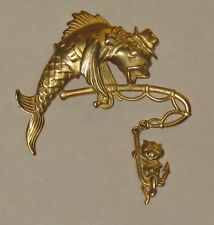 Vintage Pin Signed JJ Jonette Jewelry Gold Tone Catfish Fishing For a Cat Hook