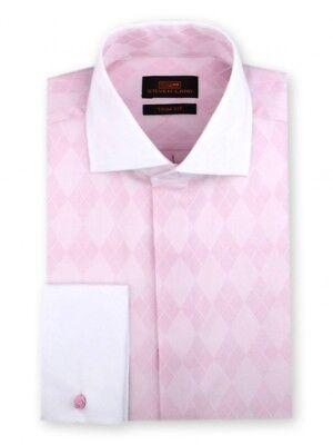 Steven Land Men/'s 100/% Cotton Textured Square Dot Trim Fit Dress Shirt TS510 Tan