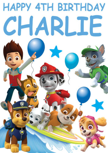 Large Paw Patrol Anniversaire Poster Bannière Personalised any Texte Nom Age