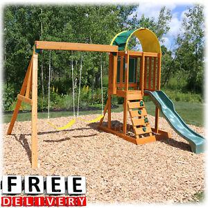Details About Wooden Swing Set Playground Outdoor Cedar Playhouse Backyard Kids Slide New