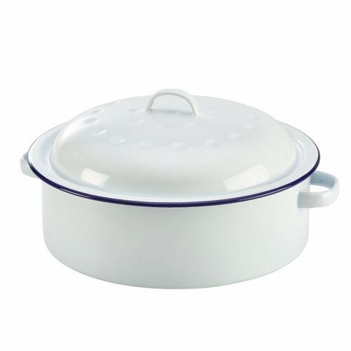 Blanc 26 cm four de cuisine ROND en Émail Sauteuse 0046