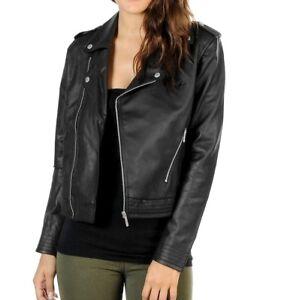 heiß-verkaufendes spätestes am besten bewertet neuesten Für Original auswählen Adidas Leather Biker Jacket Damen Leder Jacke Kunstleder ...