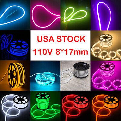 Orange 110V LED Flex Neon Rope Light Waterproof  Party Sign Home Gift Yard Decor