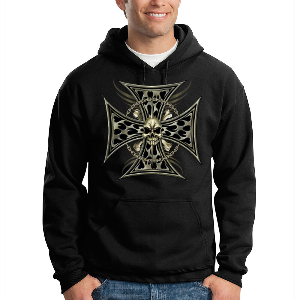 Iron Cross Skull & Bones Biker Motorcycle Chopper Cool Hooded Sweatshirt Hoodie
