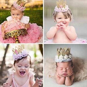 Newborn Baby Boy Girl 1st Birthday Party Princess Crown Lace Flower ... bbb647f4aa2
