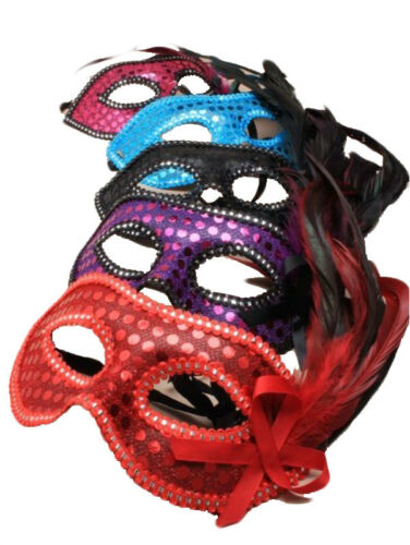 NEW LADIES GIRLS  HEN NIGHT XMASS FANCY DRESS PARTY SEQUIN /& FEATHER FACE MASK