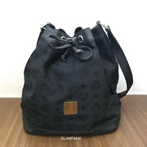 Pre-Owned-Authentic-MCM-Nylon-W-Leather-2-Drawstring-Shoulder-Bag