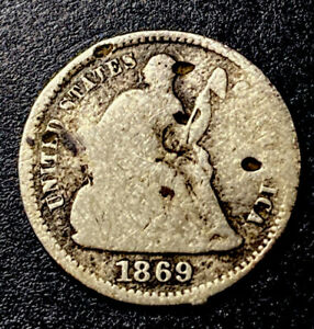 1869 Seated Liberty Silver Half Dime 5c Semi Key Low Mintage Date Lowball Type