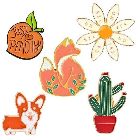 Brandy Melville Women's VSCO GIRL Cute Fox Cactus Enamel Pin Bundle of 5