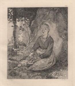 Jean-Francois-Millet-Jeune-bergere-a-l-039-ombre-d-034-un-rocher-Eau-Forte-Lerat-XIXe
