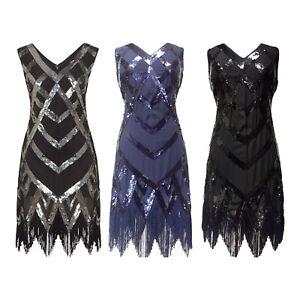 Great-Gatsby-Flapper-Downton-Charleston-1920s-Sequin-Tassle-Hem-Dress-New-8-24