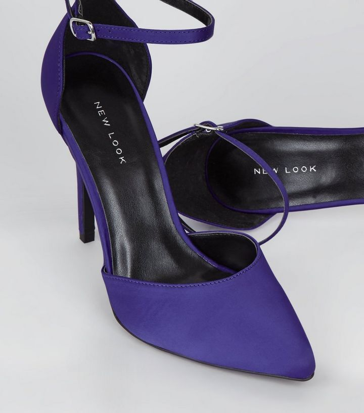 New Look bleu Satin Pointed Heels Taille 6 Brand New