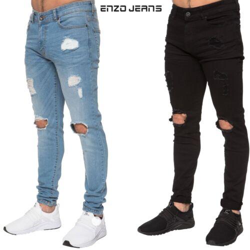 Enzo Para Hombre Ripped Super Skinny Stretch Denim Jeans Pantalones Pantalones Negro Azul Control Ar Com Ar