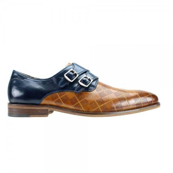 Steven Land Men's Tan bluee Genuine Leather Dress shoes SL0028