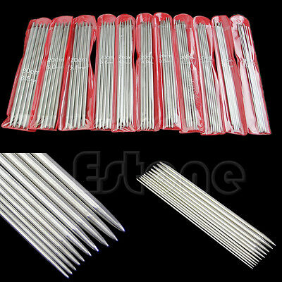 "New 55pcs 11sizes Stainless Steel 7.9"" 20cm Double Pointed Knitting Needles"