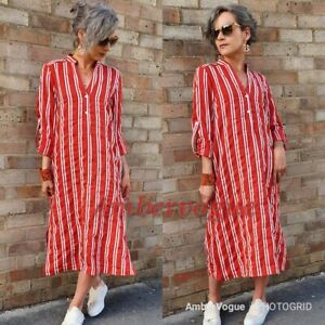 Zara-Red-White-Shirt-Midi-Dress-Tunic-SIZE-XS-S-M