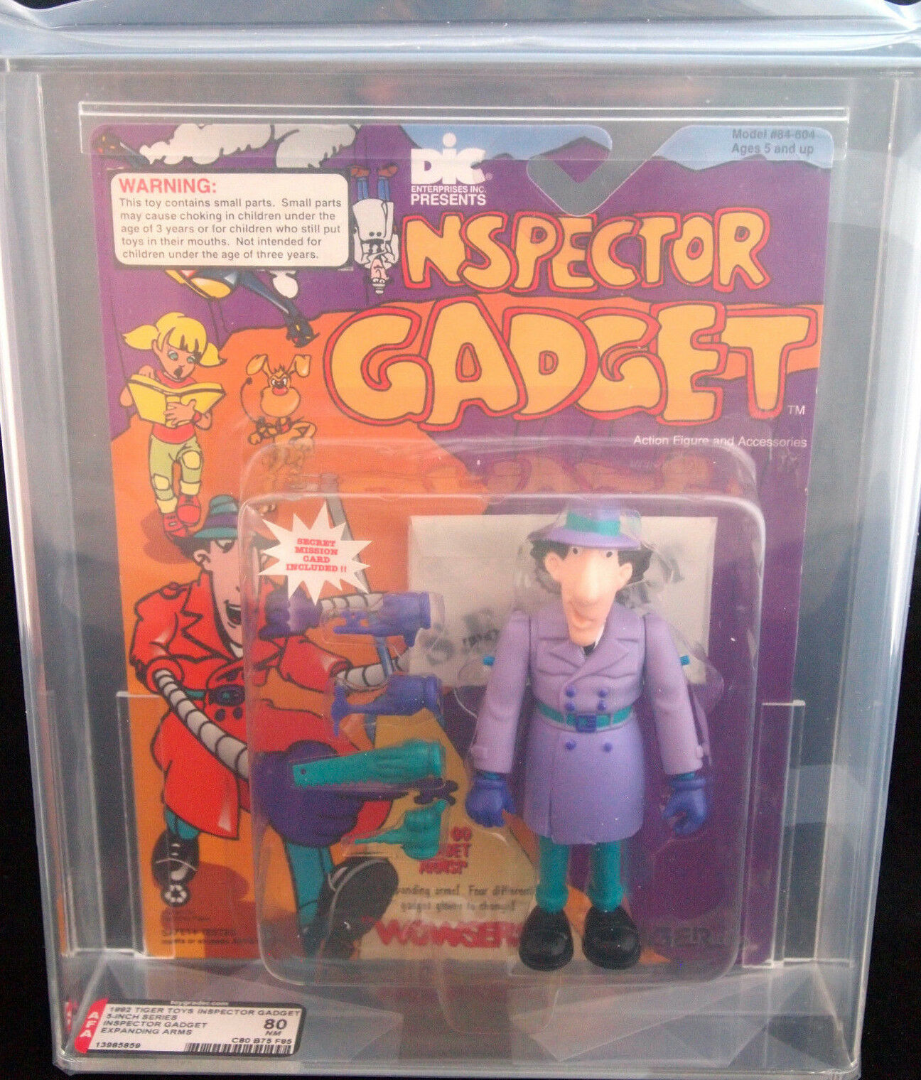 1992 TIGER TOYS INSPECTOR GADGET EXPANDING ARMS 5 INCH FIGURE AFA 80 NM