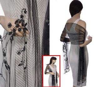 1-Beaded-Evening-Shawl-Scarf-Wrap-Sequins-Sequinned-Oblong-Rectangle-STUNNING