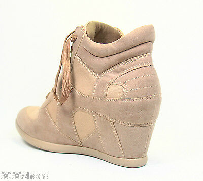 Women's Lace Velcro High Top Fashion Sneaker Hidden Wedges Shoes Size 5.5 - 10