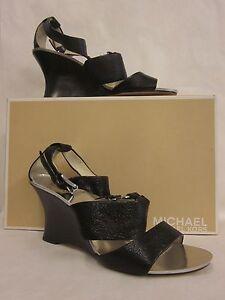 9b39925ee24 Image is loading Michael-Kors-Warren-Wedge-Black-Sandal-Size-9-
