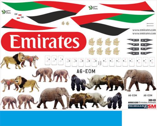 1:144 PAS-Decals #380-03 Airbus A-380 Emirates Animals