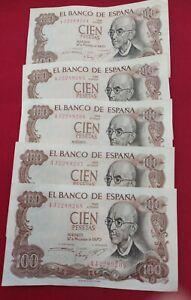 CINCO-BILLETES-100-PTAS-MANUEL-DE-FALLA-CORRELATIVOS