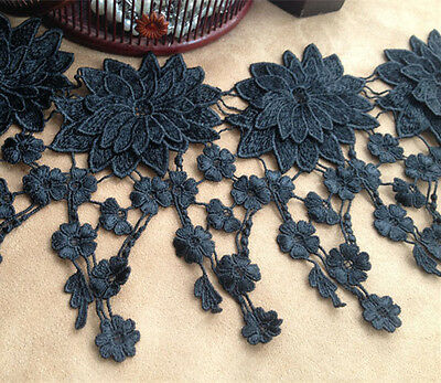 "Black Bridal Lace Trimming 6.5"" Guipure Trim Ribbon Wedding Floral Sewing Edging"