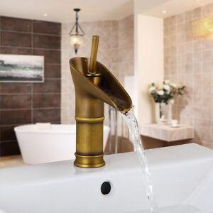Vintage-Antique-Brass-Bathroom-Wash-Basin-Faucet-Lavatory-Vessel-Sink-Mixer-Tap