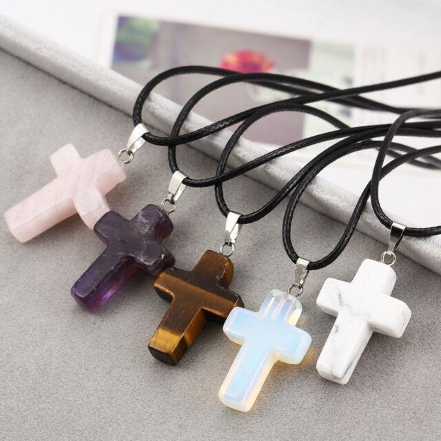 Cross Natural Stone Quartz Charm Pendant Necklace Women Men Jewelry Choker Gift