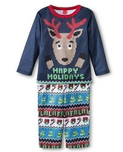 Toddler Light 2pc Christmas Pajama Set Happy Holidays Reindeer 12M 18M 2T 4T 5T