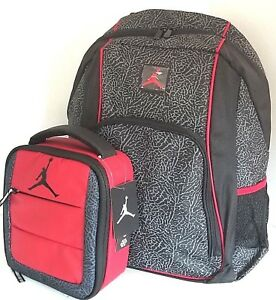 JORDAN Jumpman Elephant Print Backpack School Bag W  Matching Lunch ...