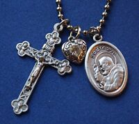Padre Pio Saint Medal Liturgy Cross Necklace