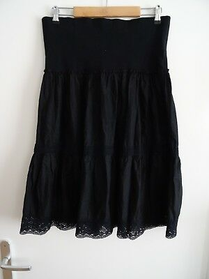 Jupe Femme Enceinte/maternité Noire Broderies Boheme Taille 40 - Made In France