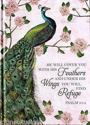 wILD aPPLE 100+ Color Page Scripture Journal w/Ribbon - Peacock ~ Psalm 91:4
