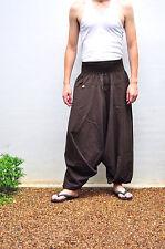 Thai Fisherman Pants Mens Yoga Baggy Boho Aladdin Cotton, Free size, Brown